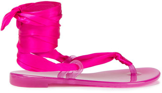 Casadei Lace-up Silk-satin And Rubber Sandals