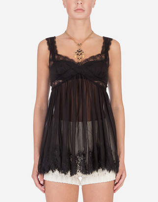 Dolce & Gabbana Silk Dress With Sweetheart Neckline