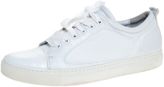 Lanvin Off-White Leather Lace Up Sneakers Size 39