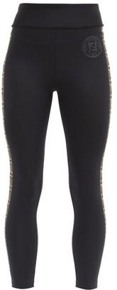 Fendi Rama Logo-tape Stretch-jersey Leggings - Black