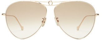 Loewe Aviator Metal Sunglasses - Brown Gold