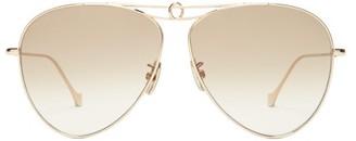 Loewe Aviator Metal Sunglasses - Womens - Brown Gold