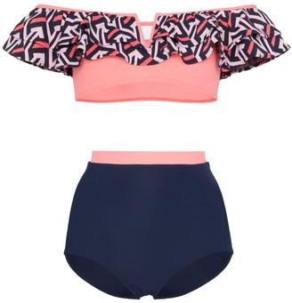 Flagpole Diana high-waisted ruffle bandeau bikini