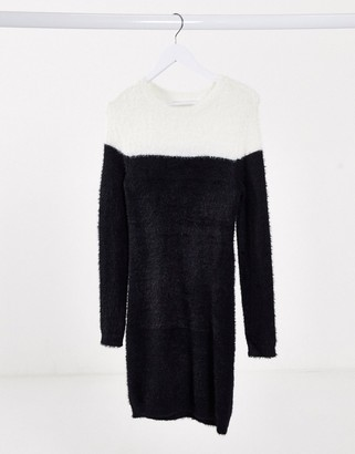Only lua long sleeve sweater dress in black and white