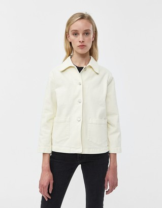 Jeanerica Women's Workwear Denim Jacket in Yellow White, Size Large