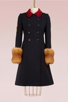 Miu Miu Wool coat with fur-cuff