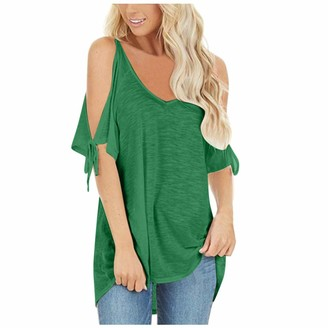 Ttlove Women TTlove_Women Cold Shoulder Casual Summer Top Scoop Neck Off Lace-Up Solid Color Shirt Blouse Women's T-Shirt Round Short Sleeve Tops Loose Oversize(Green XXL)