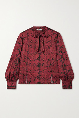 Jason Wu Pussy-bow Snake-print Silk-crepe Blouse - Red