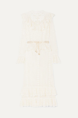 Zimmermann Allia Belted Ruffled Crocheted Cotton Maxi Dress - Ivory