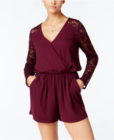 One Clothing Juniors' Surplice Lace Romper