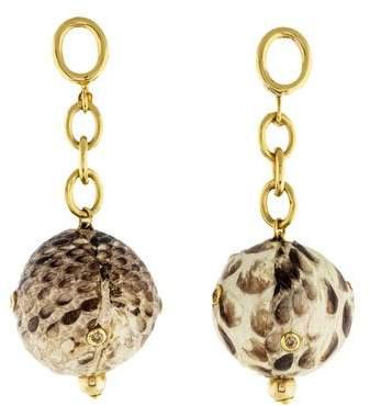 Faraone Mennella 18K Diamond & Snakeskin Ball Drop Earrings