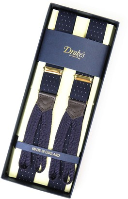 Drakes Navy Polka Dot Narrow Suspenders