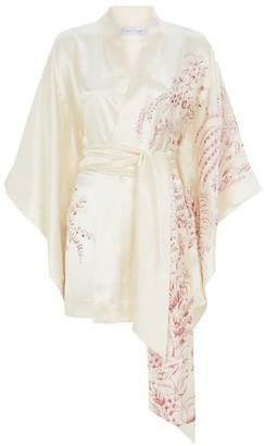 Carine Gilson Short Silk Floral Print Kimono Robe