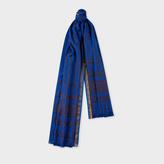Men's Navy Striped Cotton-Silk Scarf