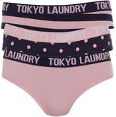 Tokyo Laundry Womens Three Pack Katelyn Briefs Eclipse Blue/Candy Pink