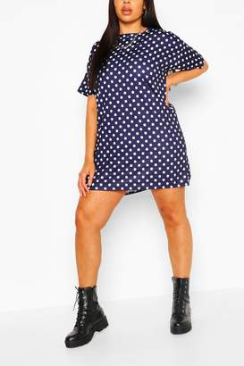 boohoo Plus Polka Dot Oversized Tshirt Dress