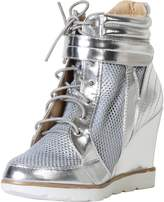 Bella Marie by Anna Shoes Women's Patent Mesh Wedge Fashion Sneaker