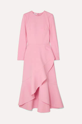 Oscar de la Renta Asymmetric Wool-blend Midi Dress - Pink