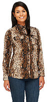 Walter View by Baker Snake Print Button Front Blouse