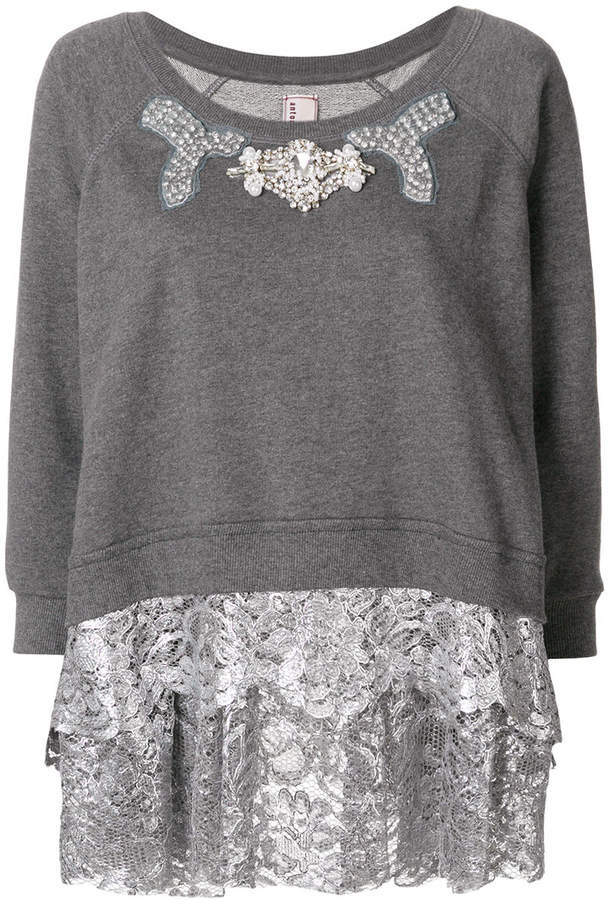 Antonio Marras metallic lace trim sweatshirt
