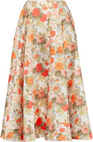 Emilia Wickstead Eleanor floral-print basketweave midi skirt