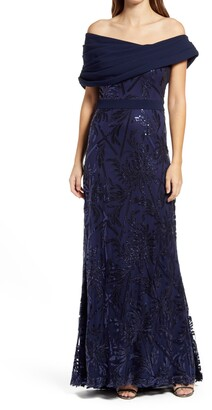 Tadashi Shoji Off the Shoulder Sequin Lace & Crepe Gown