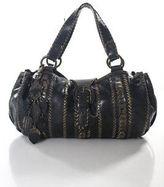 Isabella Fiore Black Leather Woven Drawstring Top Shoulder Handbag