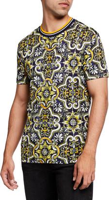 Dolce & Gabbana Men's Maiolica Tile-Print Tee