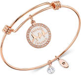 "Unwritten Friends Are Family"" Adjustable Bangle Bracelet in Rose Gold-Tone Stainless Steel"