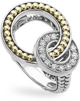 Lagos 18K Gold and Sterling Silver Enso Double Circle Ring with Diamonds
