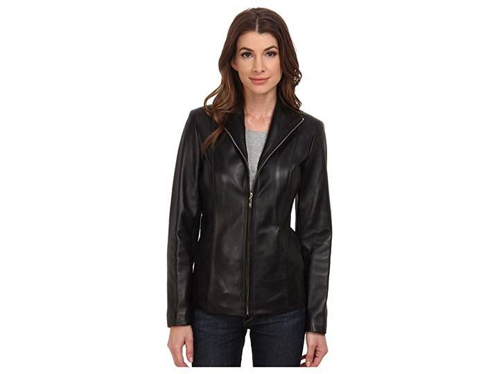 Cole Haan Wing Collar Leather Jacket Women's Coat