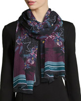 Givenchy Ultra Paradise Floral Wool Scarf, Purple