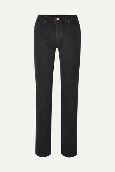 Gold Sign The Relaxed Mid-rise Straight-leg Jeans - Black