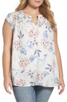Daniel Rainn Plus Size Women's Floral Print Cap Sleeve Blouse