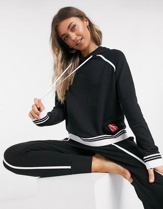 Calvin Klein One sock lounge long sleeve hoodie in black