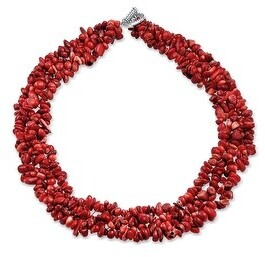 Bling Jewelry Chips Cluster Bib Multi Strand Statement Necklace Silver Plated