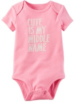 "Carter's Baby Girl Cute Is My Middle Name"" Graphic Bodysuit"