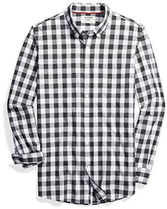 Goodthreads mens Slim-fit Long-sleeve Heathered Large-scale Check Shirt Long Sleeve Button Down Shirt - gray