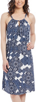 Glam White & Blue Arabesque Key Hole Empire-Waist Dress