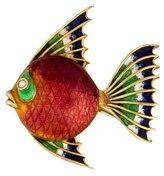 18K Enamel & Diamond Fish Pin