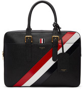 Thom Browne Black Diagonal Stripe Business Briefcase