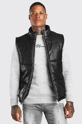 boohoo Mens Black Leather Look Puffer Gilet, Black