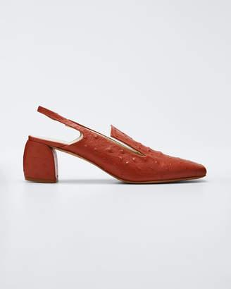 Tibi Evon Slingback Ostrich Leather Sandals