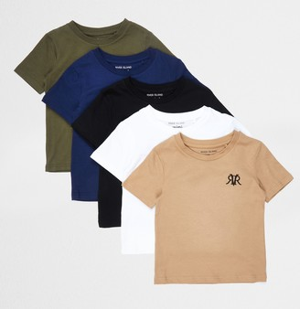 River Island Mini boys Khaki 5 pack t-shirts
