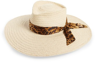 Gladys Tamez Roxbury Straw Hat with Leopard Print Silk Band