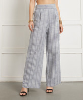 Suzanne Betro Women's Dress Pants 101NAVY/WHITE - Navy & White Stripe Palazzo Pants - Women & Plus