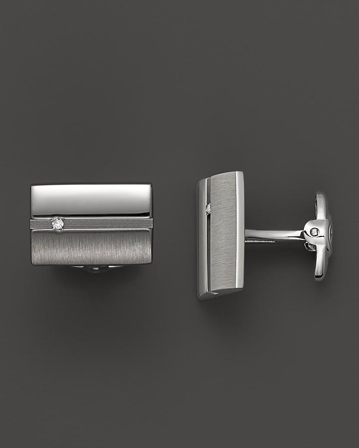 Dolan & Bullock Dolan Bullock Sterling Silver Cufflink Set With Channel Set Diamond, 0.06 ct. t.w.