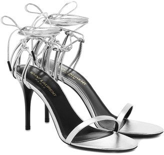 Saint Laurent Lexi 90 metallic leather sandals
