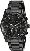 Akribos XXIV Men's Two Time Zone Quartz Watch with Round Black Radiant Sunburst Dial and Black Stainless Steel Bracelet AK904BK