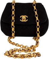 One Kings Lane Vintage Chanel Black Suede Evening Bag